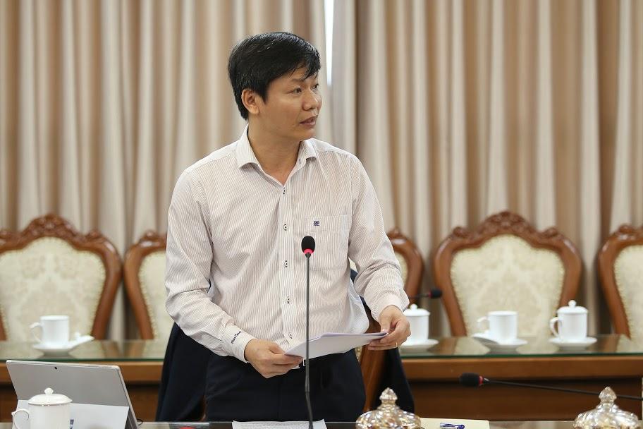 Ông Nguyễn Thanh Đề, Vụ trưởng Vụ Giáo dục Thể chất báo cáo tại Hội nghị