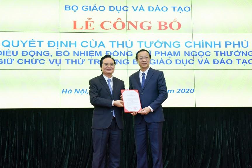 Trao quyết định điều động, bổ nhiệm tân Thứ trưởng Bộ GDĐT Phạm Ngọc Thưởng
